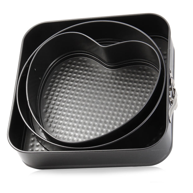3 Set Non-stick Springform Cake Pan Bakeware Mould with Removable Bottom Round Heart Square Shape