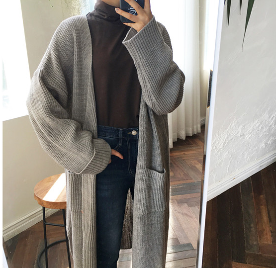 Medium long curled solid color lazy loose knit long sleeve sweater coat