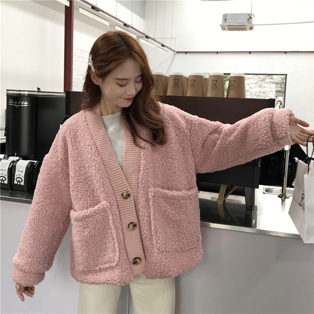 Loose Thick Double-layer Fleece Cardigan Jacket