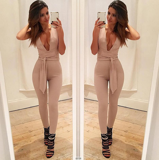 Women Deep-v Sleeveless Solid Jumpsuit
