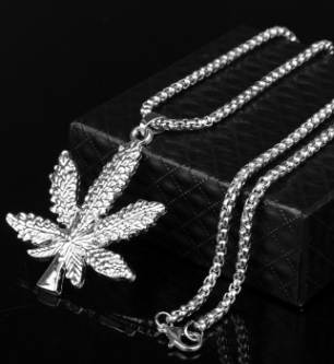 Maple Leaf Iced Out Pendant Necklace