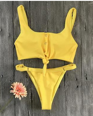 Pure color tube top split two-piece swimsuit female European and American sexy bikini swimsuit