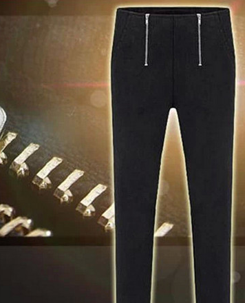 Double Zipper Slim Fitting Stretch Pants
