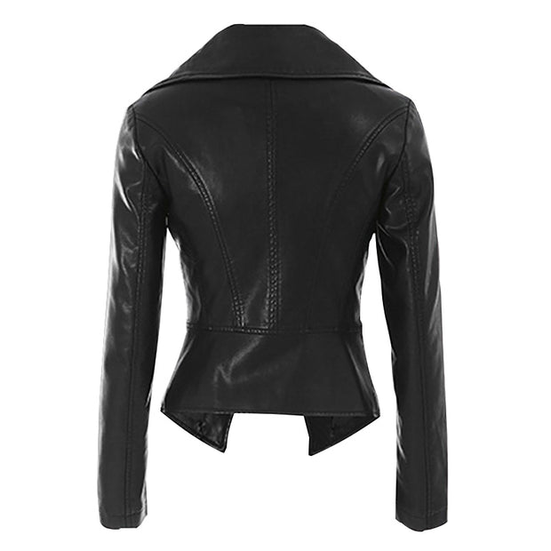 Leather women's jacket autumn 2018 new Korean students Slim thin motorcycle leather jacket high waist