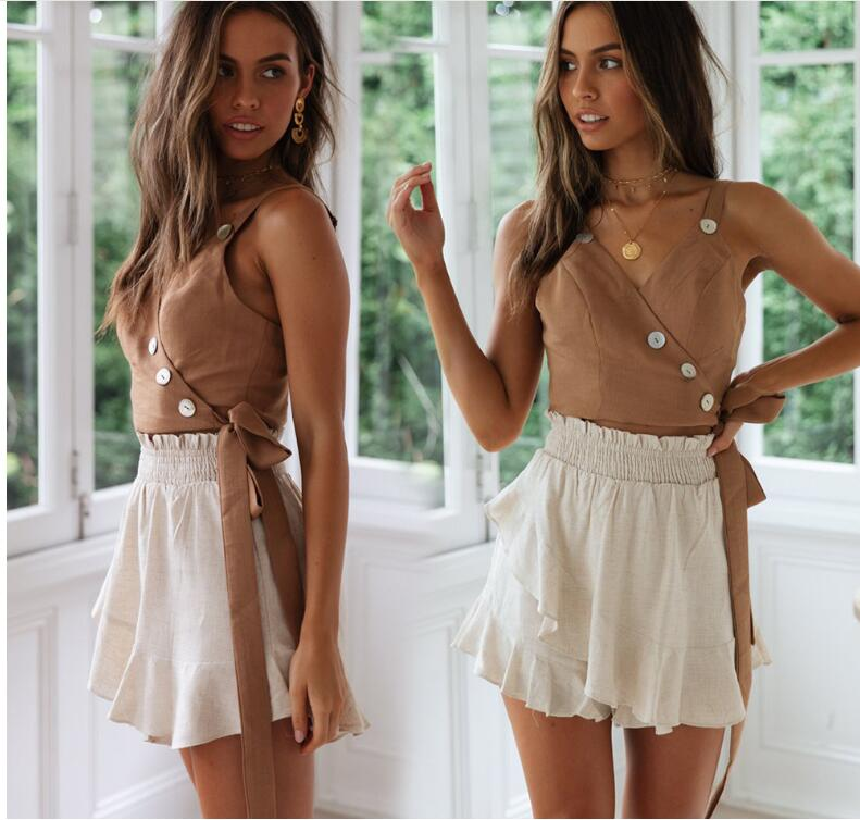 Sling strap button V-neck tube top Spring and summer vest