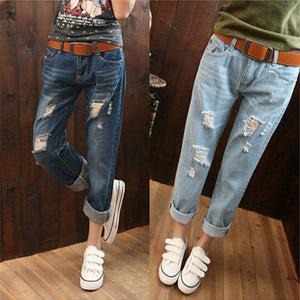 Summer new version of Korean women's large size loose BF broken jeans, women's Haren nine points pants