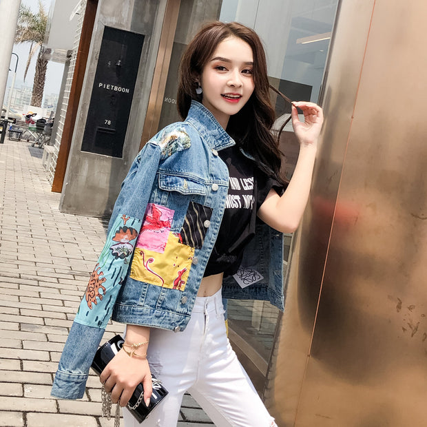 Denim jacket female spring autumn ins super fire star with the same paragraph fan mermaid fashion jacket shirt