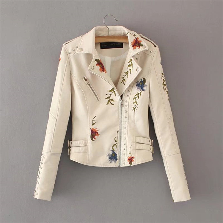 Lapel Embroidered Rivet Stitching Motorcycle Jacket