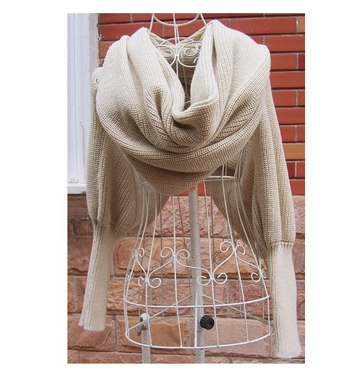 V-shaped Open Shoulder Knitted Sweater