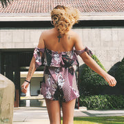 USA SIZE Bohemian printed ruffled bandage tie tube top loose loose jumpsuit shorts