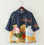 Japanese illustrator pattern digital bottle printed short shirt