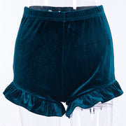 InstaHot sexy short Ruffle shorts, female, European and American new high waist waist slim, velvet casual pants autumn.