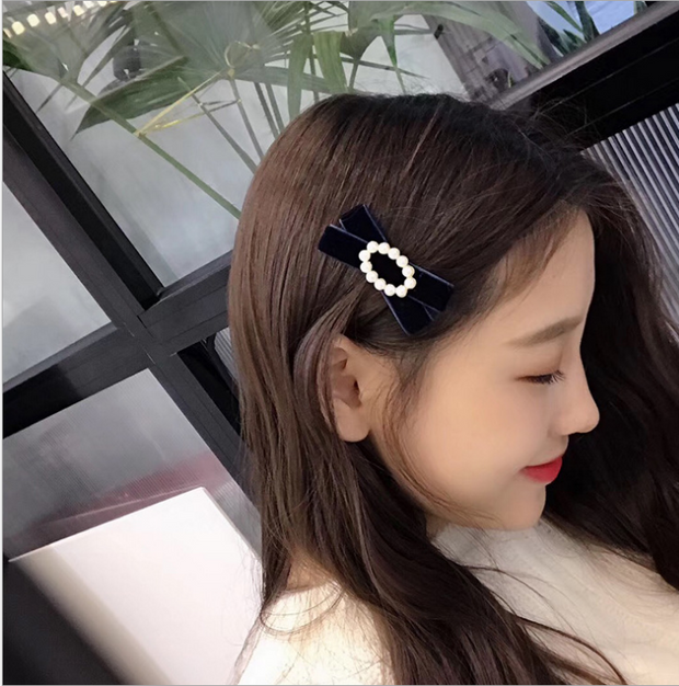 Handmade pearl velvet bow hairpin autumn and winter retro sweet wild duck mouth clip side clip female