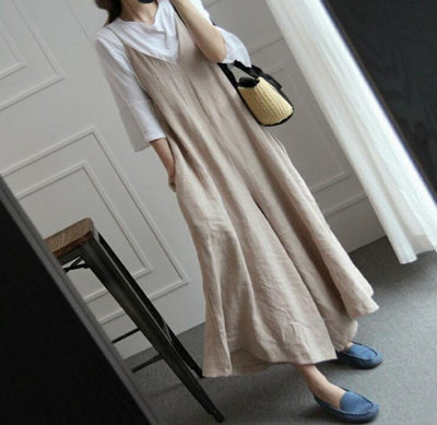 Wide-legged jumpsuit cotton and linen suspenders linen bib