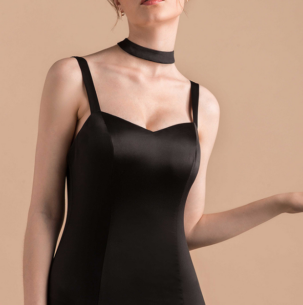 Elegant long sexy slim split black dress