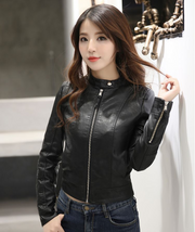 Slim long-sleeved solid color zipper leather jacket leather jacket female spring and autumn 2019 new explosion models
