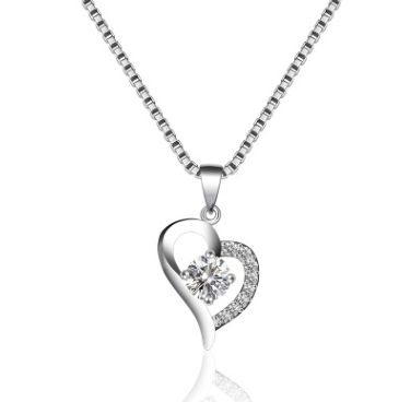 Love Necklace Women's Sweet Heart Shaped Heart Pendant Simple Temperament Silver Item Jewelry