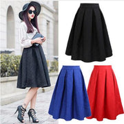 Winter Black Red Jacquard Pleated Ball Gown Skater Ladies Midi Skirts