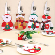 4PCS Christmas Cutlery Tableware Spoon Knife Bag Fork Decoration