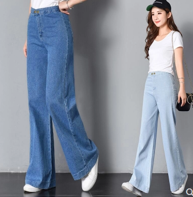 Retro simple large wide leg jeans loose high waist washed light blue stitching trousers