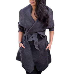 Woolen coat autumn and winter belt large size woolen coat in the long section