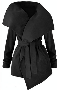 Large Size Belted woolen Woolen Coat for Autumn