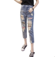 Cropped Stud Ripped Denim Pants