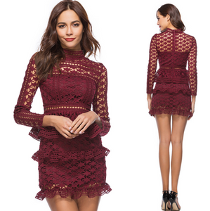 Women Hollowed Ruffle Lace Mini Party Dress