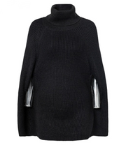 Solid Color Cape Knit Turtleneck Sweater