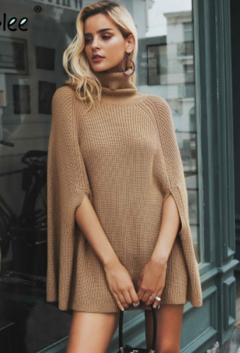 European Station AliExpress ebay Amazon Explosion Sexy Solid Color Cape Knit Turtleneck Dress Sweater
