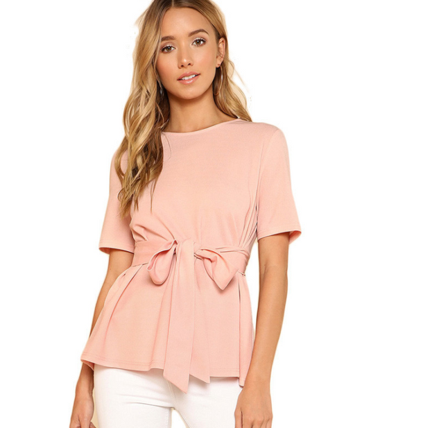 Pink Self Belt Keyhole Back Blouse Solid Short