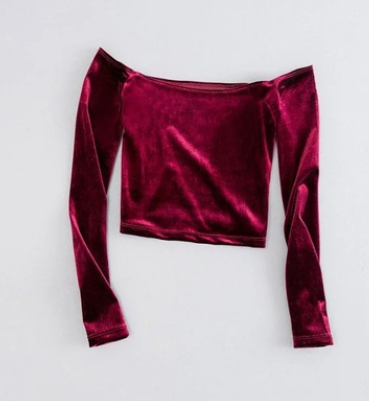 Europe and the United States short gold velvet word collar high waist navel long-sleeved T-shirt