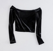 Women Off Shoulder Cropped Velvet Tops