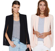 New Ladies Women Long Sleeve Lapel Cape Poncho Office Jacket Cloak Blazer Suit Coat KR2