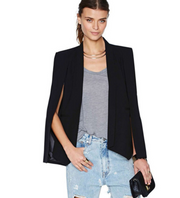 Women Long Sleeve Lapel Cape Coat