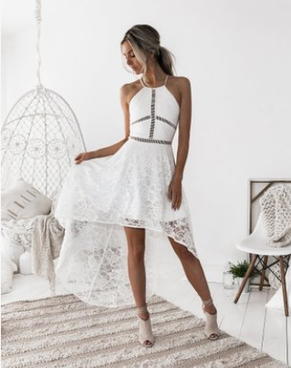 Women Halter Lace See Through Dress