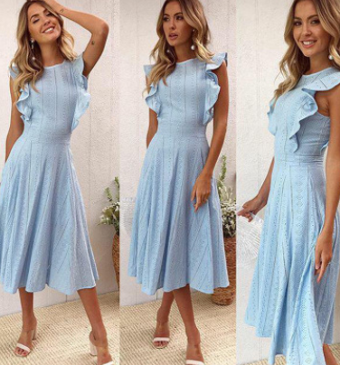 Women Ruffled Irregular Midi Dress