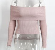 Sexy off-the-shoulder Tight-fitting Knit Sweater
