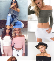 Sexy off-the-shoulder tight-fitting knit top women's 5 colors