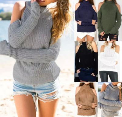 2018 new AliExpress Europe and the United States new sexy off-the-shoulder sweater long-sleeved Slim female head
