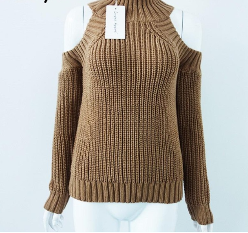 Knitted Cold-shoulder Long Sleeve Sweater