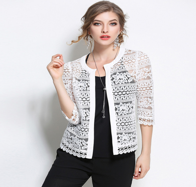 Shawl large size jacket female new slim spring and summer lace vest