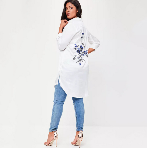Plus Size Solid White Women Blouses Floral Embroideried Long Sleeve Female Clothing Casual Lady Tops