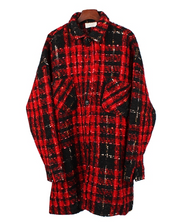 Profile loose gold thread wool plaid long high street hipster net red with long sleeve shirt