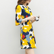 Wild temperament slim print dress
