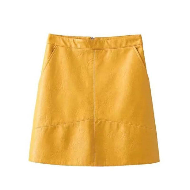 PU Leather Stitching Short Skirt