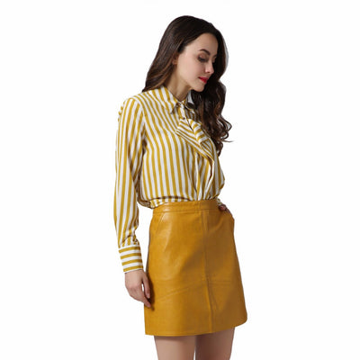 2018 autumn and winter new PU leather stitching half-length leather skirt Slim A-line skirt Short skirt