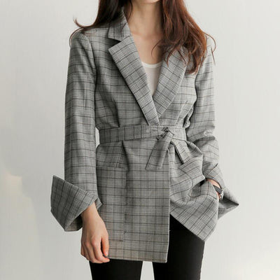 Vintage England small plaid suit long casual jacket top