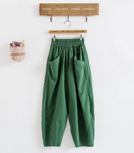 Lantern pants, versatile elastic waist, cotton and linen women's casual pants