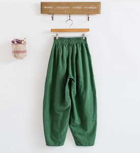 Elastic Waist Lantern Cotton Loose Pants